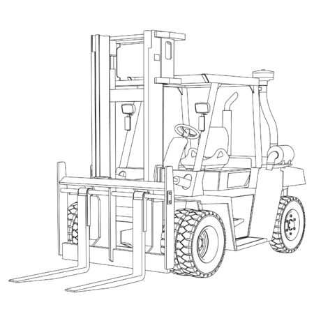 Forklift outline vector. Special machines for the building work.