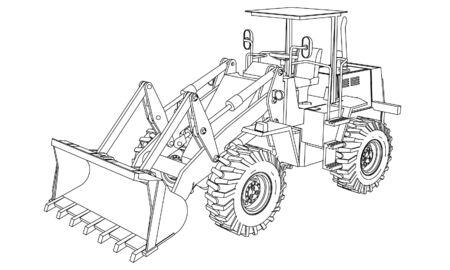 Vecteur de contour de chargeuse sur pneus. Machines spéciales pour les travaux de construction.