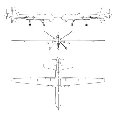 Drone outline vector. Military vehicle template vector isolated on white. Ilustración de vector