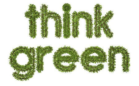 3D think green text on white background. Leaf style text.