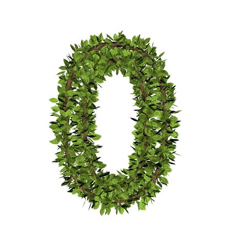 Leaf style number zero, 0. 3D render of grass font isolated on white background