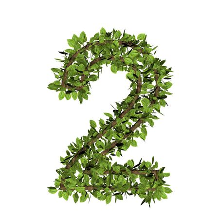Leaf style number two, 2. 3D render of grass font isolated on white background