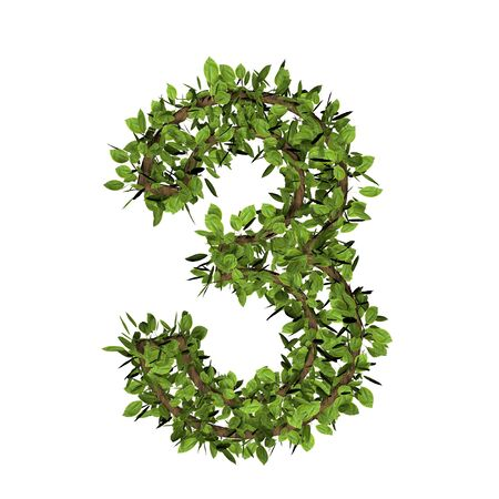 Leaf style number three, 3. 3D render of grass font isolated on white background Imagens