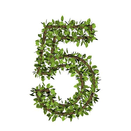 Leaf style number five, 5. 3D render of grass font isolated on white background