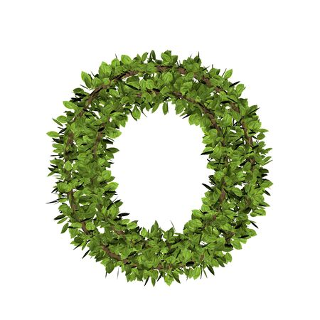 Leaf style letter o. 3D render of grass font isolated on white background