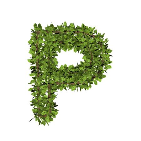 Leaf style letter p. 3D render of grass font isolated on white background Banco de Imagens