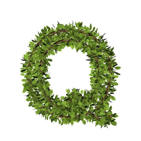 Leaf style letter q. 3D render of grass font isolated on white background Zdjęcie Seryjne