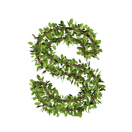 Leaf style letter s. 3D render of grass font isolated on white background Zdjęcie Seryjne