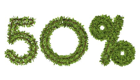 3D render text in 50 percent on white background. Leaf style text. Banque d'images