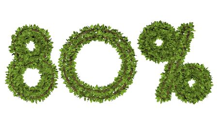 3D render text in 80 percent on white background. Leaf style text. Banque d'images