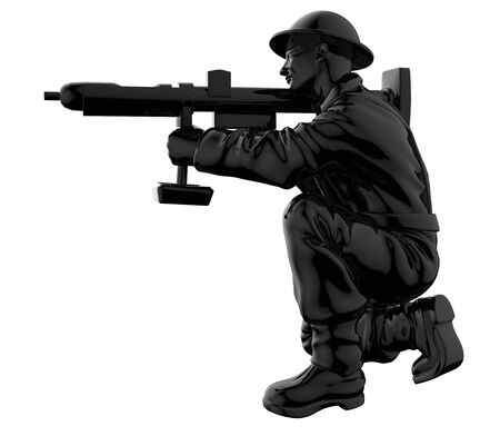 Army soldiers silhouette. Soldier keeps watch on guard. Rangers on border. Commandos team unit. Special force crew. 3d render