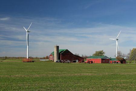 Farm with wind turbines  33445 photo
