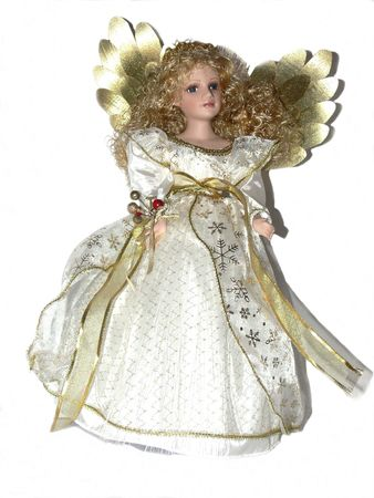 A beautiful angle dolly over white background with blond hair and       photo