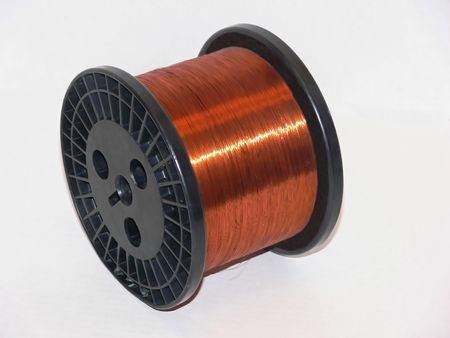 A roll of very fin copper wire on a black plastic roll.    50253 Stock Photo - 797077