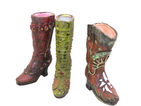 Three miniature boots from a collection from the early 1900.   50249 Stock Photo - 797085