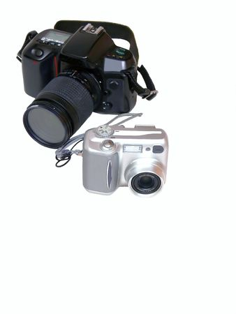 Two digital cameras, one ELS and the other a point and shot camera.  50771 Stock Photo - 797091