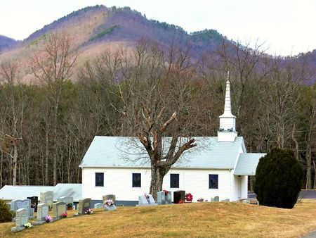 An rural country church in Virginia with beautiful mountain around.  60025   photo