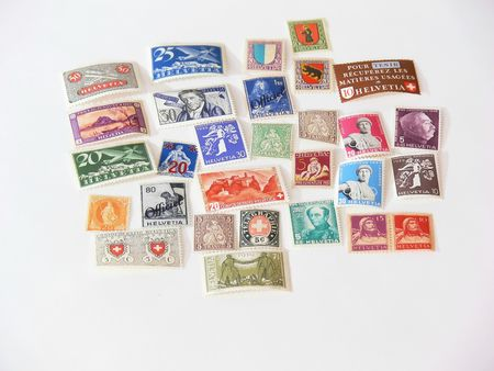 Stamps  60271An collection of stamps from Switzerland on white background.