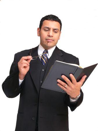 60371 Unternehmer. Ein Geschäftsmann hat eine Vorlage für seine Verkäufe Menschen über ein neues Produkt.  Standard-Bild - 835825