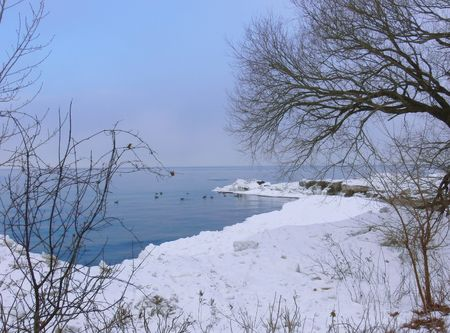 Lake in winter  60346. Stock Photo - 834914