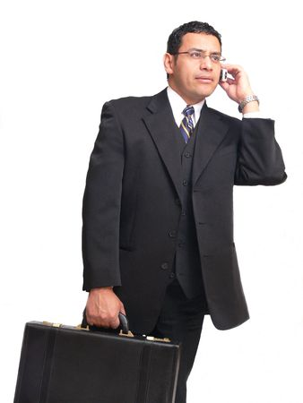 important phone call: Businessman  60373 An businessman on the run is talking on his cell phone and carrying a briefcase. Stock Photo