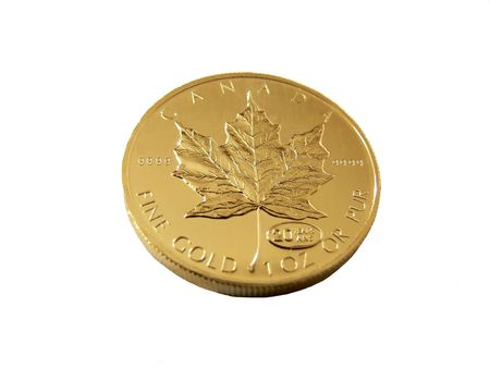 Gold coin  60281. An 50 dollar fine gold coin from the mint in Canada. Stock Photo