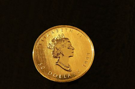 Gold coin  60666b. An 50 dollar fine gold coin from the mint in Canada.
