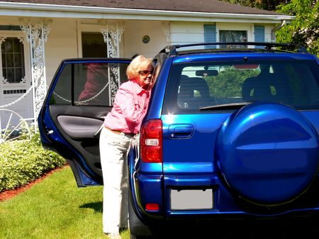 Lady with blue car