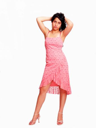Girl in pink dress photo