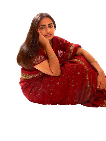 Indian lady in red dress. photo