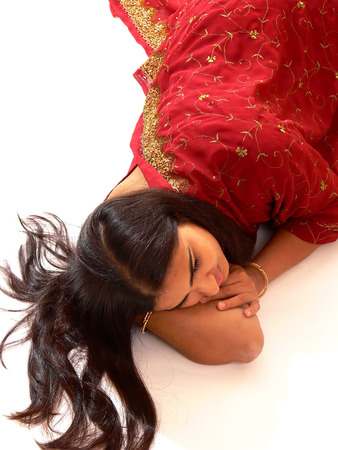 Indian lady in red dress. Archivio Fotografico