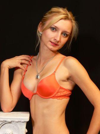 Lady in pink bra. photo