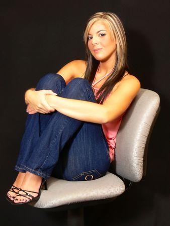 Girl in jeans. photo