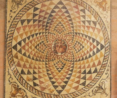 circle shape: Floor mosaic.