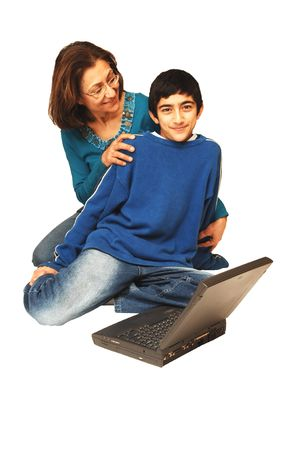 Mother and son on the laptop. Stock Photo - 2426303