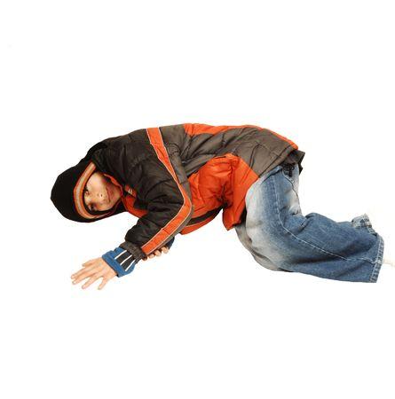 Teen boy lying on the floor. photo