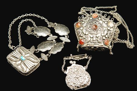silver jewelry: Three beautiful handmade antique silver money purses whit red and blue