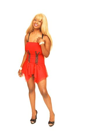 Young Jamaican girl in red 66. photo
