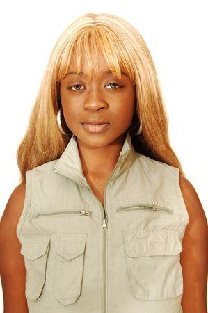 Young Jamaican girl safari overall  免版税图像