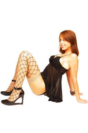 Woman sitting on floor.