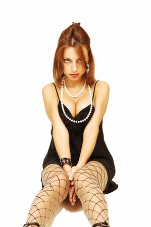 Woman sitting on floor. photo