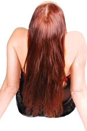 auburn hair: A young woman from the back with her nice long auburn hair sitting in  lingerie on the floor in a studio.  Stock Photo