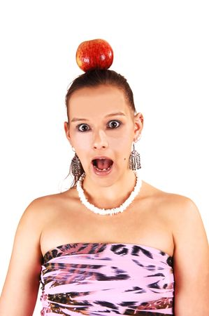 happening: A young woman with an apple on her head is very scared what is soon happening to her.