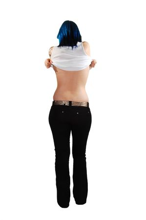 hands off: The blue haired woman in black jeans taking off her shirt and shooing her nice back, on white background.