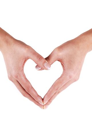 Two woman's hands coming together and building a heart for white background.