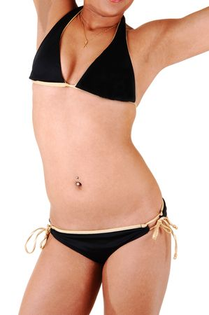 belly button: The beautiful slim body of a young Hispanic woman in a black bikini shooing her fantastic body, for white background.