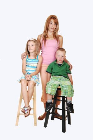 An young family, a mother with her two kids, an seven year girl and a