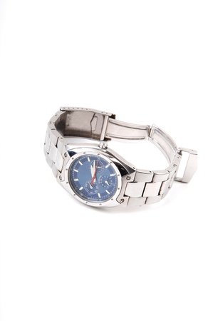 chrome man: A modern silver color wrist watch with blue face and with an stainless steel band for white background. Stock Photo