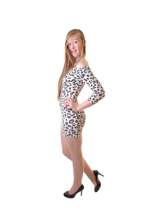 A young teenage girl in a leopard print dress and long brunette hair andhigh heels standing in the studio showing her slim body, for white background. photo