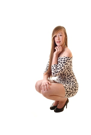 A pretty teenage girl in a short leopard print dress crouching on the floorwith her long brunette hair and in high heels, for white background.